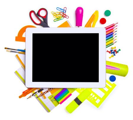 utiles escolares: Concepto de educaci�n en l�nea Foto de archivo