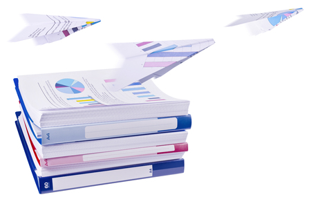 Pile of office ring binders with paper airplanes photo