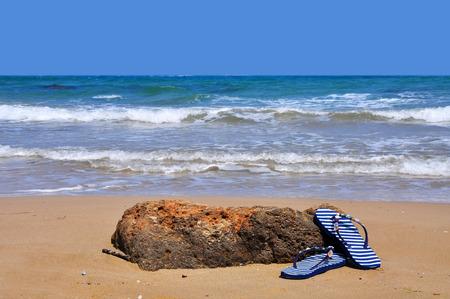 sandals: Sandals on beach