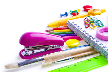 colored school: School and office supplies. Stationery on white background.