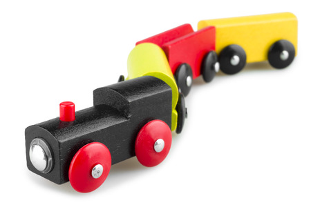 toy train: Colorful wooden toy train isolated over white background