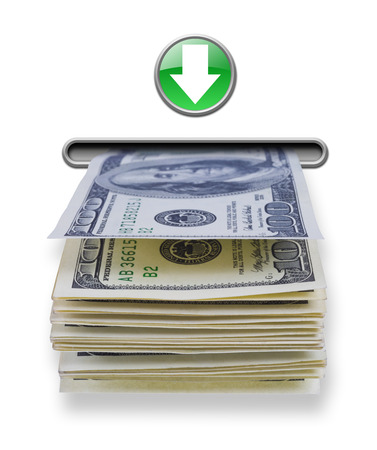 automatic teller machine bank: US dollar money stack dispensed from imaginary atm cash machine
