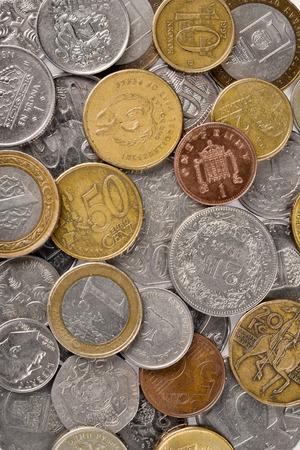 dinar: Various money coins background