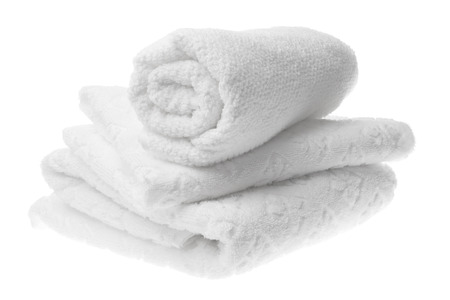 isolated on the white background: White cotton towels stack isolated
