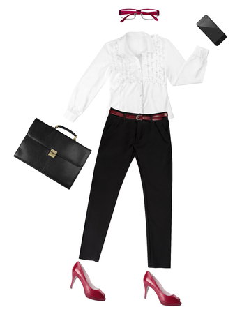 composed: White-collar female worker essentials arranged as fancy human shape