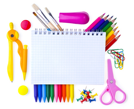 back to school supplies: School supplies. Back to school background.