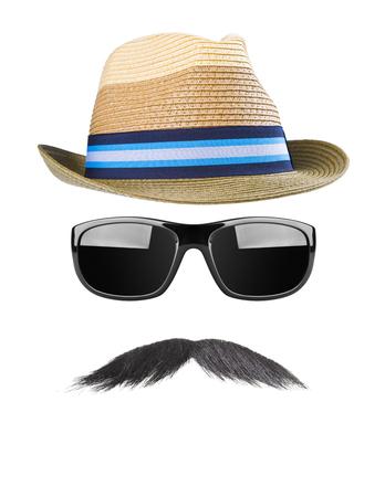 snobby: Cappello di paglia, baffi e occhiali da sole