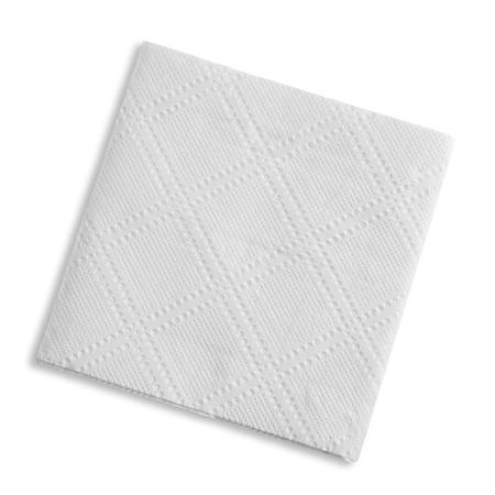 白い正方形ナプキン、分離されたスタジオ 写真素材