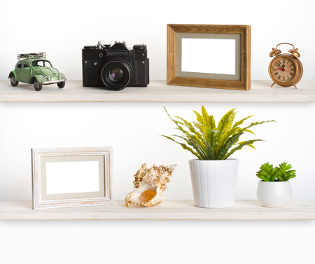 object: Wooden shelves with travel memory related objects