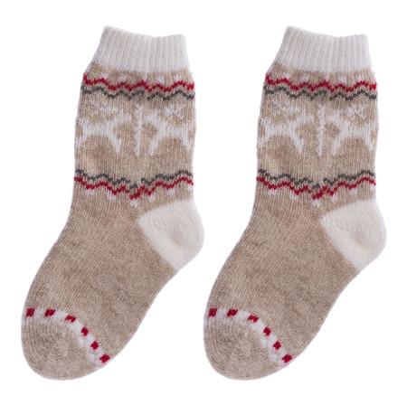 woollen: Woollen children socks isolated on white background Stock Photo
