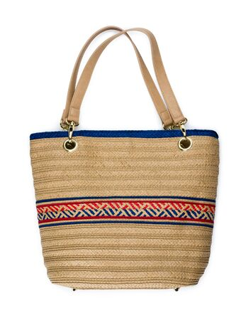 personal shopper: Elegant beach bag isolated on white background Stock Photo