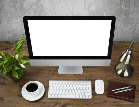 Top view of office table with desktop computer Banco de Imagens - 40242618