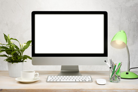 Workspace background with desktop pc and office accessories on table Zdjęcie Seryjne