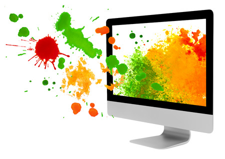 digital paint: Computer monitor with paint blots and splashes on white background