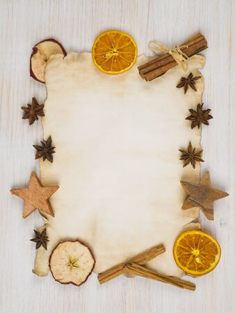 recipes: Recipe paper background on light wooden table