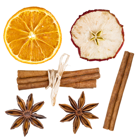 orange fruit: Closeup of spice ingredients isolated on white background