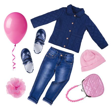 in jeans: Collage de sistema de la ropa femenina del resorte del oto�o aislado en blanco Foto de archivo