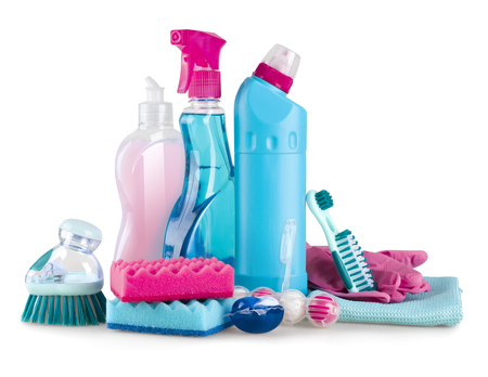 House cleaning and hygiene supplies isolated on white background Stock Photo