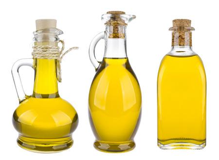 olives: Various olive oil bottles isolated on white background