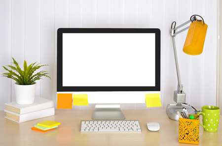 Workplace background with desk, office accessories, computer and venetian blinds