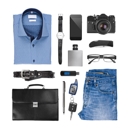 menswear: Collage of male clothes and assessories isolated on white background
