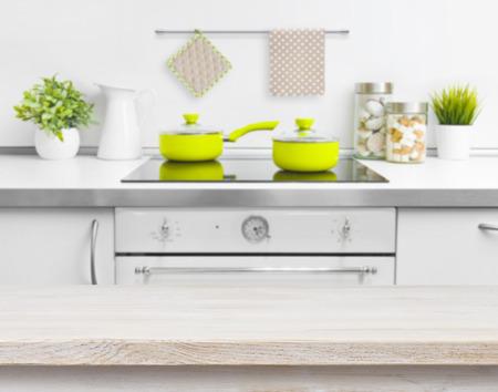 kitchen bench: Wood texture table on defocused kitchen bench background
