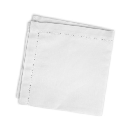 White folded linen napkin isolated on white background Stock fotó