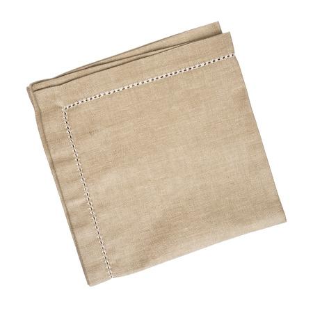 Bruin linnen servet op een witte achtergrond
