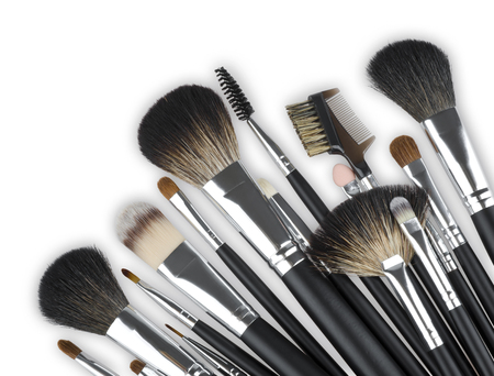 blending: Various professional makeup cosmetic brushes isolated on white background