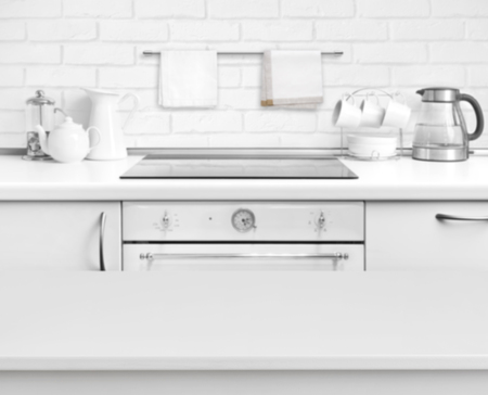 kitchen bench: White laminated table on defocused rustic kitchen bench interior background