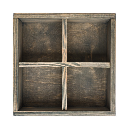 Open old wooden box with sections isolated on white background Stock Photo
