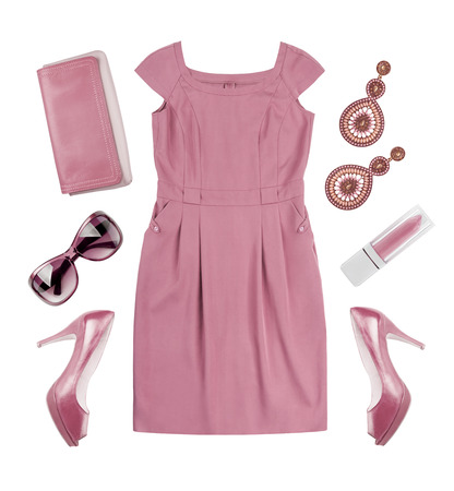 Collage of woman pink summer dress and accessories on white