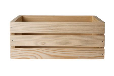 Wooden crate isolated on white background, side view