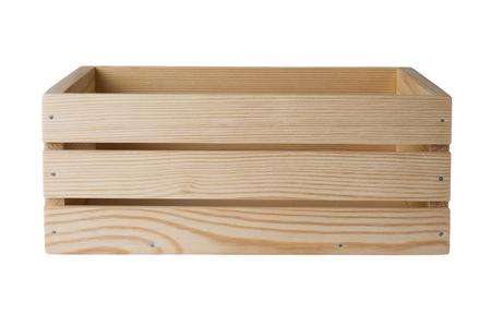 Caja de madera aislada sobre fondo blanco, vista lateral