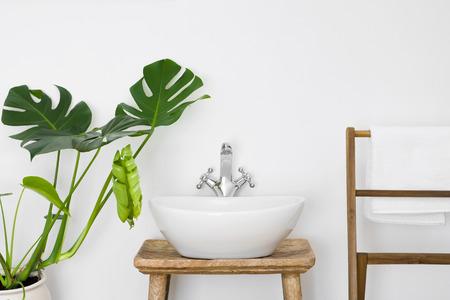 Interior del cuarto de baño con lavabo blanco, colgador de toallas y planta verde