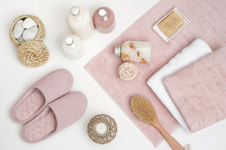 Skincare, beauty and spa concept with essential accessories on white