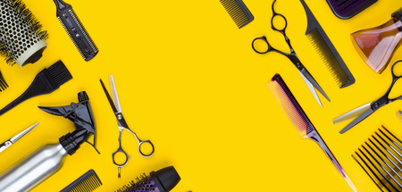 Stylish professional hair cutting tool and accessories with copy space Banco de Imagens