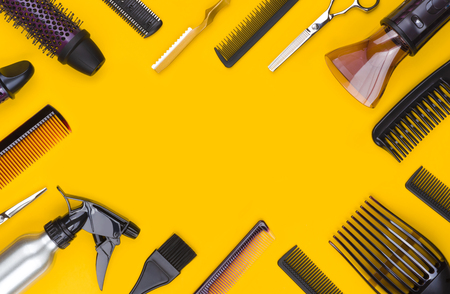 Hair cutting tool and accessories with copy space in center Banco de Imagens