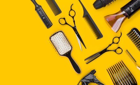 Professional stylist hair cutting tool and accessories with copy space Banco de Imagens