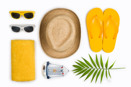 Tropical beach items and travel symbols isolated on white