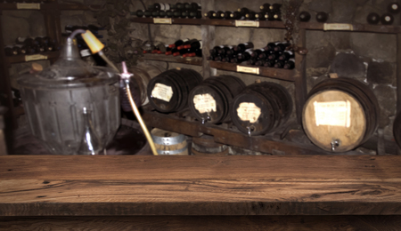 Winery and beverage concept with wooden table for product display