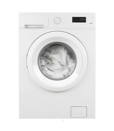 Clothes in washing machine on isolated white