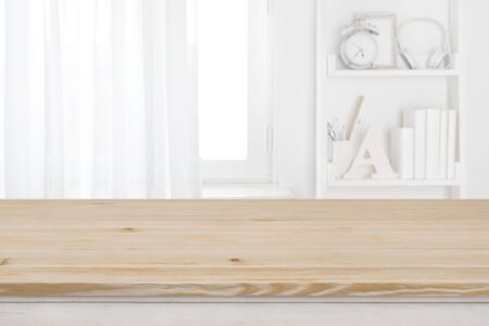 Educational concept of wooden table top with copy space