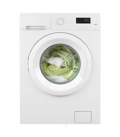 Green clothes in washing machine on isolated white Banco de Imagens - 125686712