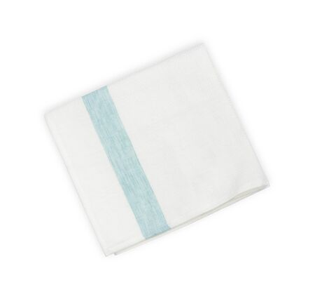Folded linen napkin with blue line isolated on white