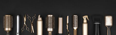 Collection of professional hair dresser tools arranged on dark