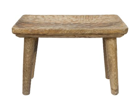 Vintage wooden four legs stool isolated on white