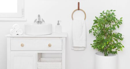 Simple stylish bathroom interior with vintage furniture in light colors 写真素材