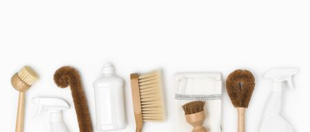 Brushes, detergent bottles and cloth for natural cleaning with space