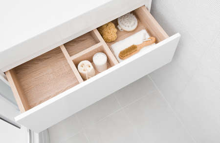 Open cosmetic and make up drawer organizer top view